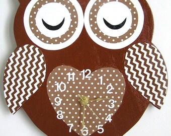 Nursery Wall Clock, Nursery Owl Clock, Hanging Owl Clock, Children's Room Wall Clock, Owl Wall Clock, Kid's Room Owl Wall Clock (Brown)