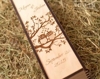 Wine box, Wedding Wine Box, Custom Wine Box, Wine Box Ceremony, Time Capsule, Wedding Gift, Couple Of Owls, Gift  for Couple