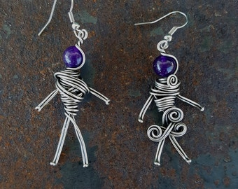 Silver plated wire wrapped stick man earring. Handmade boho jewelry. Gift for her. E1028