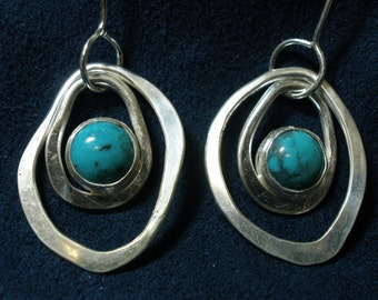 Sterling Silver and Turquoise Concentric Hammered Rings Earrings