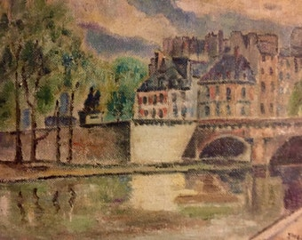 French cityscape and bridge