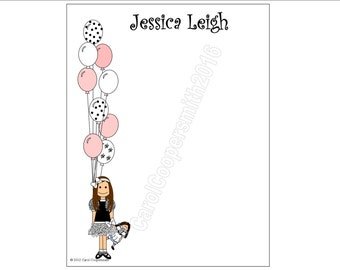Party Girl Notepads - Personalized - Brunette, Blonde, Black Hair, Auburn, African American