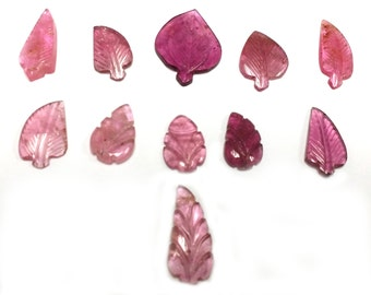 today sale offer 11 Piece Lot Pink Tourmaline Carving Leaves
