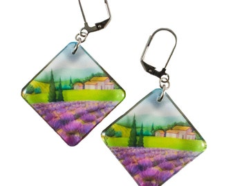 Transparent Provence earrings - Hypoallergenic earrings - Square earrings - Handmade earrings - Nature jewelry - Lavender and green earings
