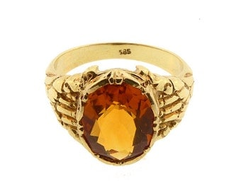 Art Nouveau 14K Gold & Citrine Ring