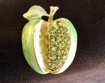 "Green Apple Brooch - Enamel Vintage Pin - Peridot Rhinestone -  Granny Smith Apple  - TEACHER GIFT - 1- 1/4"" by 1-5/8"""