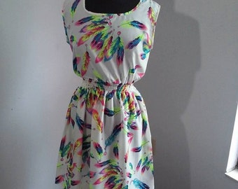 Printed Summer Dress/Feathers