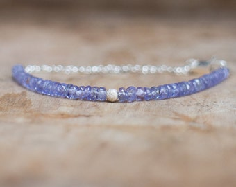 Genuine Tanzanite Gemstone Bracelet, December Birthstone, Delicate Gold or Silver Stacking Beaded Bracelet, Violet Stone Bracelet, Wife Gift