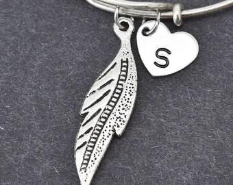 Leaf Bangle, Sterling Silver Bangle, Leaf Bracelet, Bridesmaid Gift, Personalized Bracelet, Charm Bangle, Initial Bracelet,Bridesmaid Gift