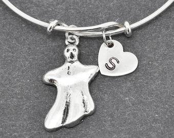 Ghost Bangle, Sterling Silver Bangle, Ghost Bracelet, Bridesmaid Gift, Personalized Bracelet, Charm Bangle, Initial Bracelet, Halloween