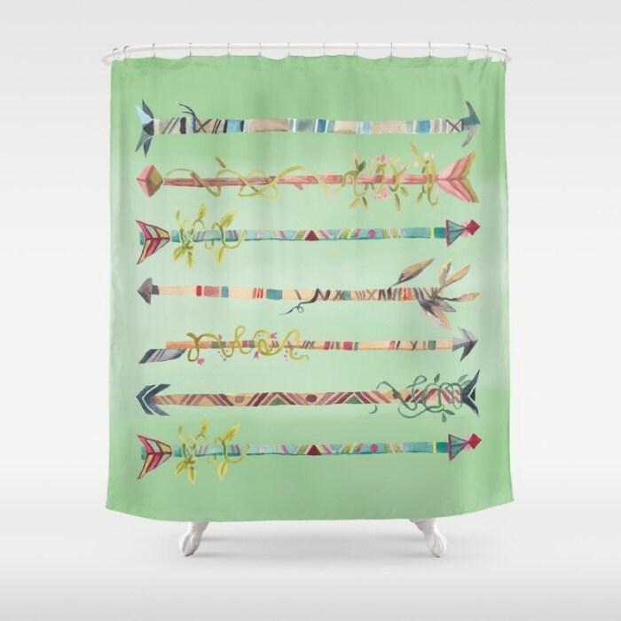Arrows Shower Curtain Sage Green Boho Decor Bohemian Shower