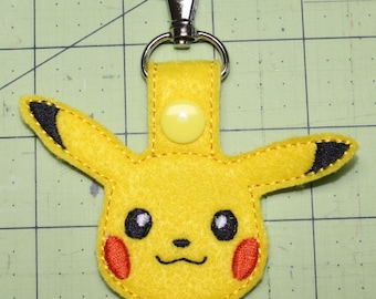 Pokemon or Mudkip Key Fob, Zipper Pull, Purse Charm, Snap Tab - Perfect for Pokemon Fans of all Ages!
