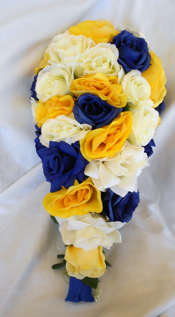 Royal blue yellow and ivory cascade silk bouquet 17 pc