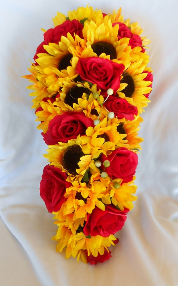Sunflower and roses cascading fall wedding set 21 pieces brides maids and corsages included