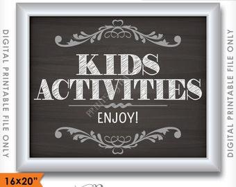 "Kids Table Sign, Kids Table Wedding Sign, Activities Kids Corner, 8x10/16x20"" Chalkboard Style Instant Download Digital Printable File"