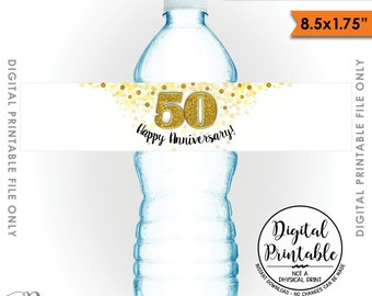 "Water Bottle Labels, Printable 50th Anniversary Party Decoration, Five 8.5x1.75"" labels per 8.5x11"" Sheet, Instant Download Printable File"