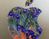 Vincent van Gogh Irises Painting Backlit Apple Logo for MacBooks 2 Decals per Order
