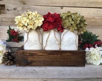 Christmas Decor,Christmas Table Decor,Rustic Christmas Centerpiece,Farmhouse Christmas,Christmas Mason Jars,Christmas Decorations,Mason Jars