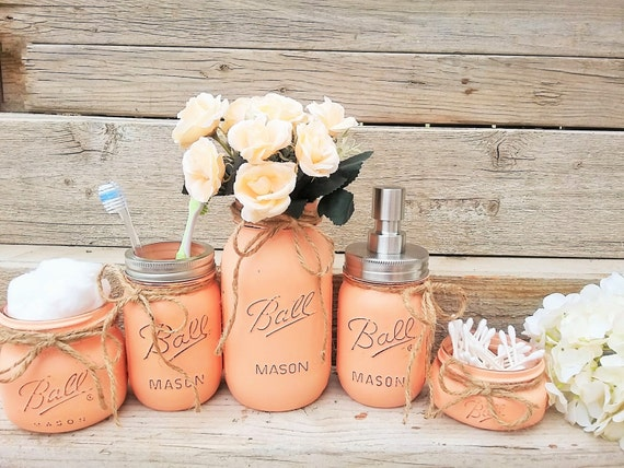 Mason jar bathroom decor peach bathroom set painted mason Peach bathroom