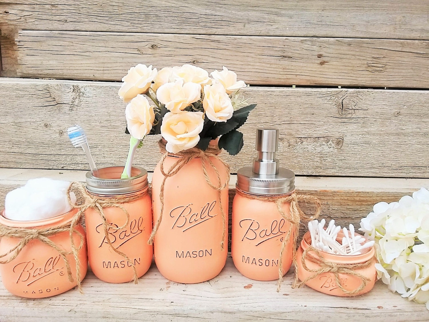 Mason jar bathroom decor peach bathroom set painted mason for Bathroom decor mason jars