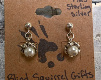 Pearl Acorn Earrings