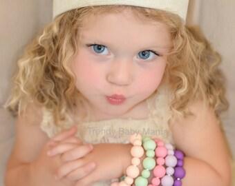 Kids & Toddlers Bracelet - Chew Beads - BPA Free Silicone - Purple Pastel Violet - Sensory - Mint - Girl Birthday - Play Jewelry - Bangles