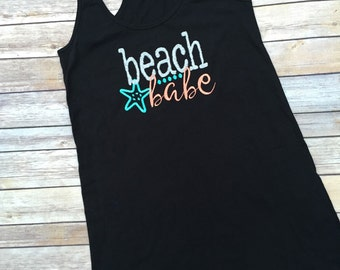 Womens Swimsuit Coverup, Monogrammed Racerback beach cover up, monogram beach dress, swimsuit coverup, lounge coverup, bridesmaids gift