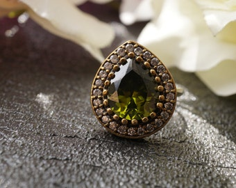 Drop Oil Green Ring/Sterling Silver Ring