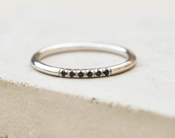 Petite, Dainty Ultra thin Stacking Ring with 6 mini micro pave CZ Black Stones - SILVER - quarter eternity band, stacker ring