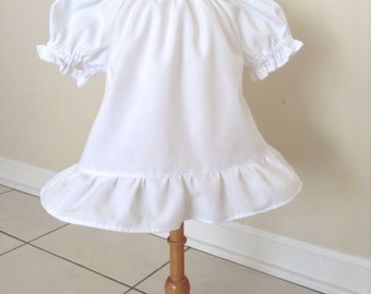 Baby Top and Skirt, Baby Peasant Top, Baby White Top, Baby Cotton Top, Baby Flower Skirt, Baby Brown Skirt, 24 Mo