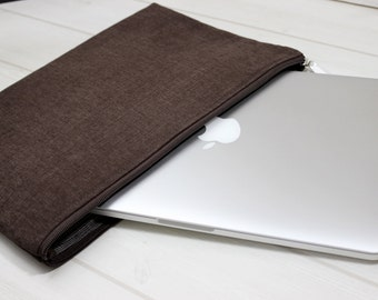 Mens Macbook case, Macbook Pro sleeve, Macbook Air case, zippered laptop case, Pro Retina case, Macbook sleeve 13, brown laptop case