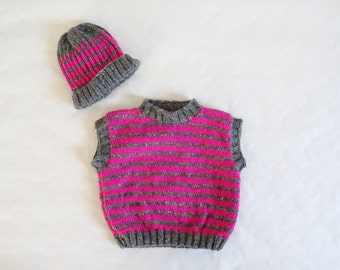 Baby sleeveless tank top or sweater and cap , size 6 months