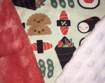 Customized, Personalized Children's/Pet Blanket - Happy Sushi
