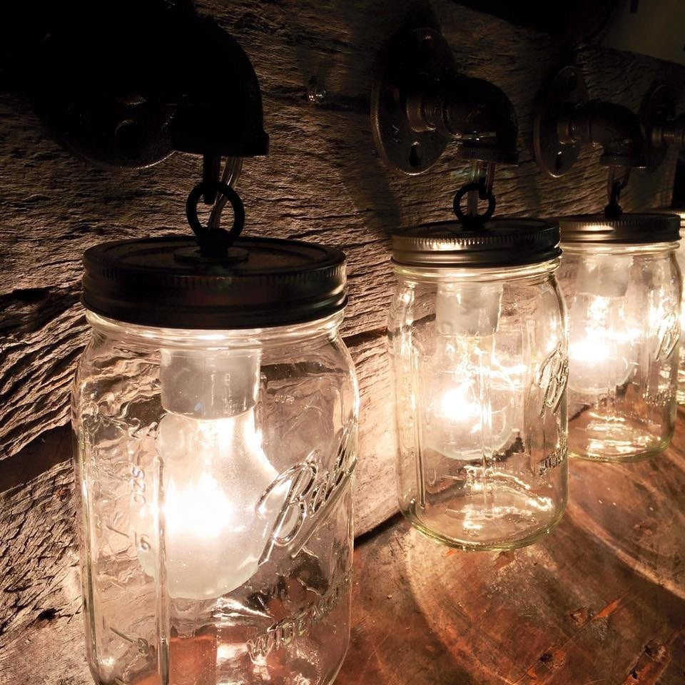 Mason Jar Vanity Light: Pipe Fitting Mason Jar Bathroom Vanity Bar Or Wall Farmhouse
