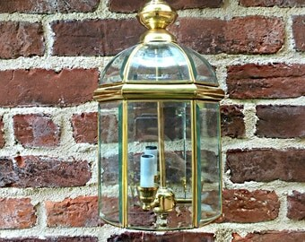 "Vintage Brass Pendant Light Lantern 3 Arm 17"""
