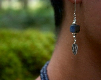 Labradorite Earrings with Thai Hill Tribe Silver + Leaves
