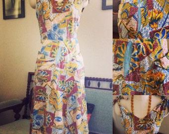 1950s abstract Hawaiian dress.