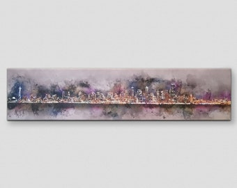 Seattle Watercolor Canvas Painting