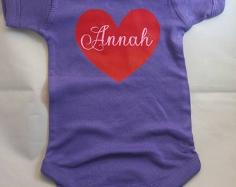 Personalized heart name onesie