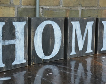 Home sign.  Home large wood blocks.  Rustic wood letter blocks.  Hand painted home sign.  Rustic home decor
