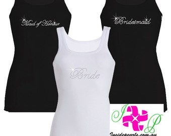 Bridesmaid Tank Top rhinestone personalised Tanks Bride Shirt Maid of Honor Gift Bridesmaid Shirts Bridesmaid Gift Bachelorette Party Shirts