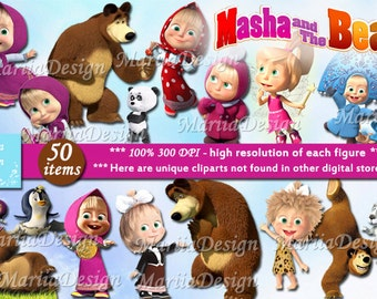 50 Masha and the Bear Clipart - 50 PNG - 300 Dpi, Masha and the Bear Png, Masha and the Bear clip art, Instant download - ONLY FILES