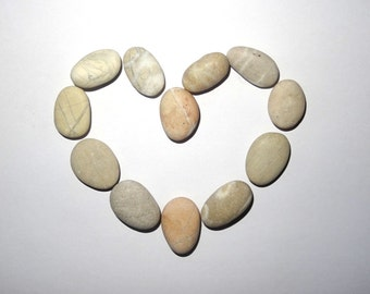 Stone magnets Fridge magnets Pebbles magnets Set of 12. Heart magnets. Great unique gift Wedding decor Natural beach stones Nautical magnets