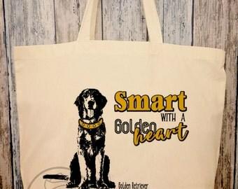 Golden retriever, cotton bag
