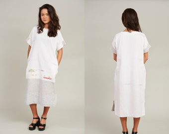1950s White Cotton Embroidered T-Shirt Dress • L