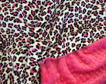 Cheetah Baby Stroller Blanket, Hot Pink Baby Blanket, Baby Girl Crib Bedding, Minky Baby Blanket