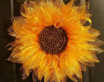 Sunflower Wreath, Deco Mesh Sunflower Wreath,  Summer Wreath, Front Door Wreath,  Everyday Wreath,  Home Decor, Flower Wreath