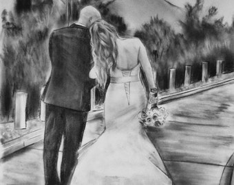 Custom charcoal portrait Romantic painting 2nd anniversary gift for her Romantic wedding gift Pencil drawing from photo