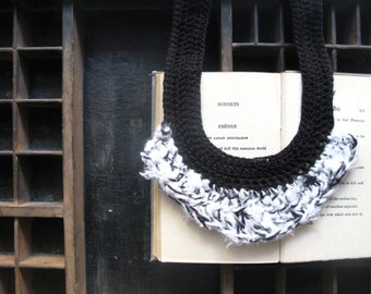 Black and white necklace, silk necklace, yarn jewellery, statement necklace, fibre necklace