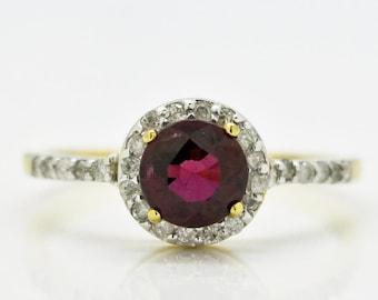Rhodolite Garnet, Diamonds, 14K Yellow Gold Ring 1.8grams